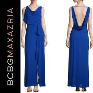 BCBG Blue Sydney Open Back Layered Gown Size 12